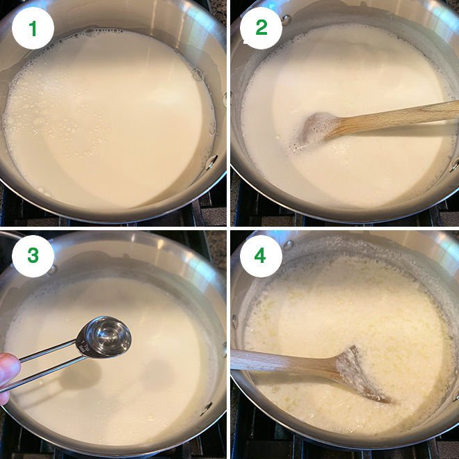 step by step picture showing how to make paneer at home