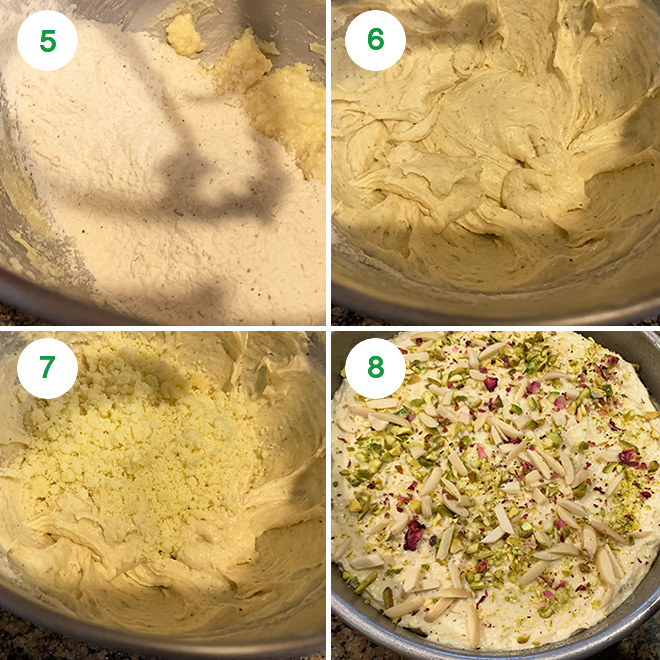 step by step picture collage of making mawa cake