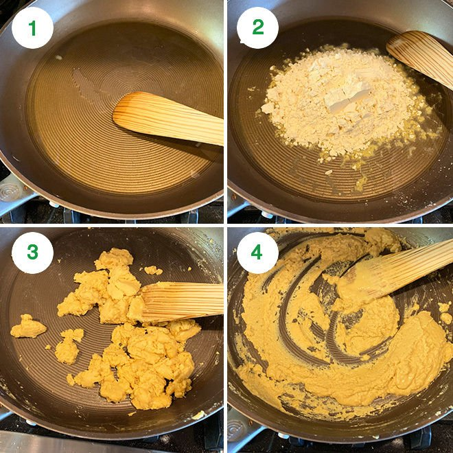 step by step picture collage of making besan ladoo