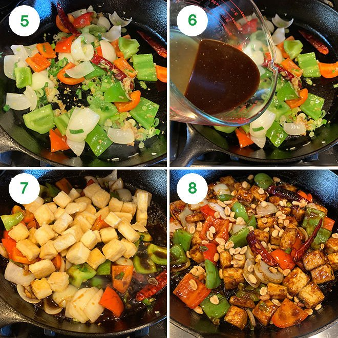 step by step picture collage of making kung pao tofu