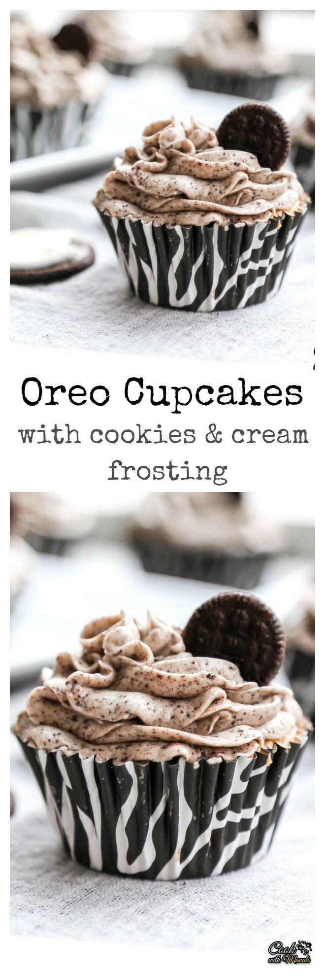 Oreo Cupcakes with Cookies & Cream Frosting Collage-nocwm
