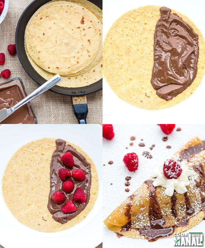 Raspberry Nutella Crepes - Cook With Manali