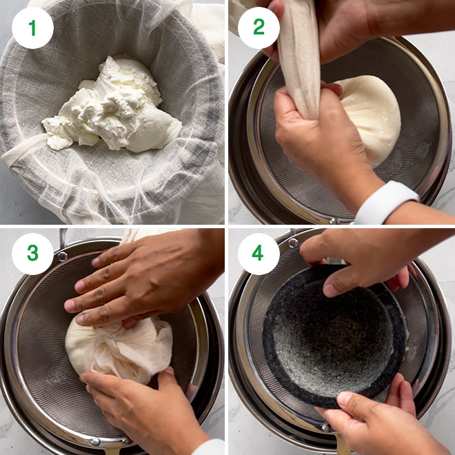 step by step picture collage of making mango shrikhand