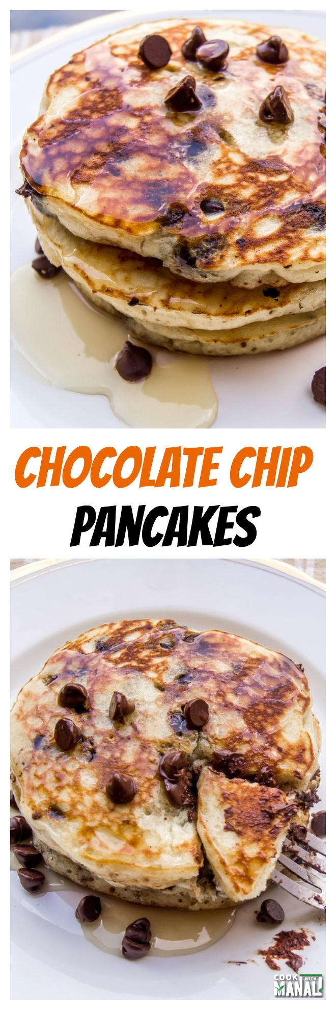chocolate chip pancakes collage