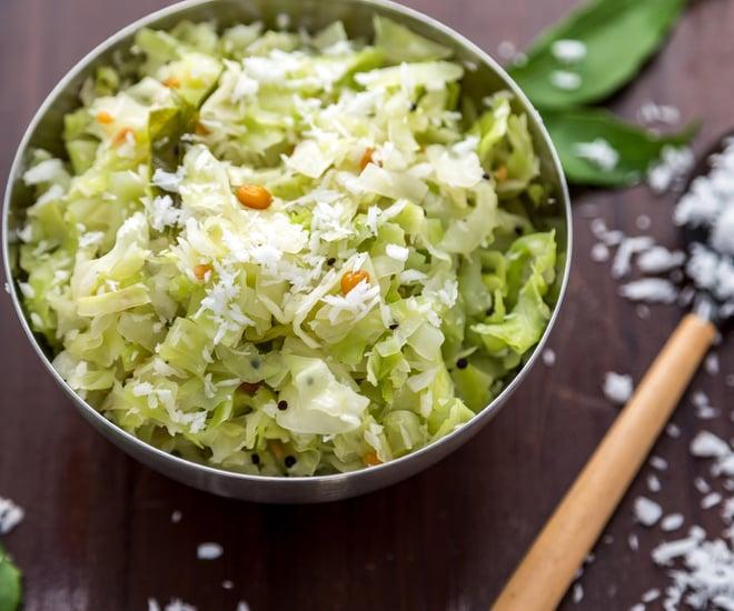 Cabbage Poriyal Vegan Recipe
