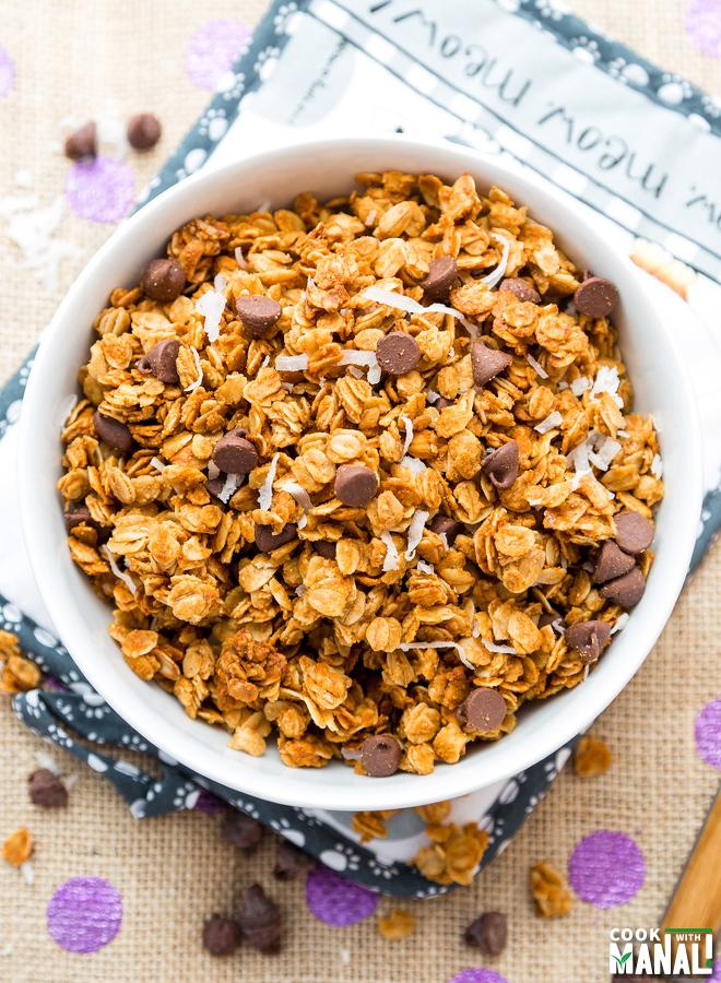 Chocolate Chip Peanut Butter Coconut Granola