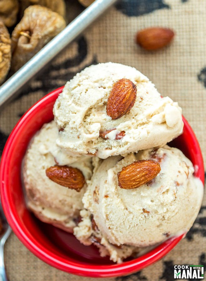 Dried Fig Ice Cream With Honey Roasted Almonds