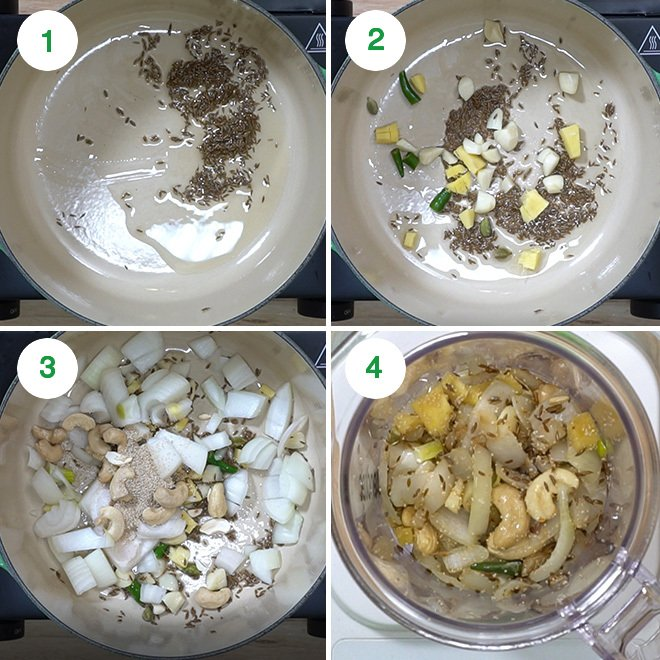 step by step picture collage of making methi matar malai