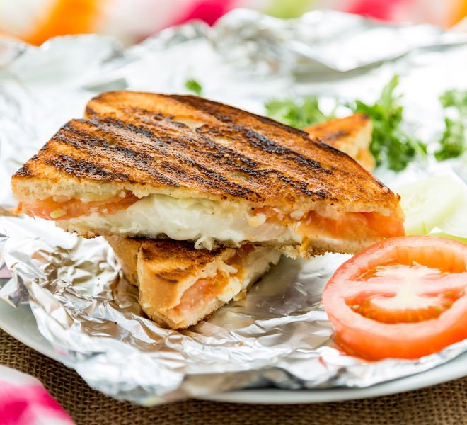 Onion Tomato Cucumber Grilled Cheese Sandwich