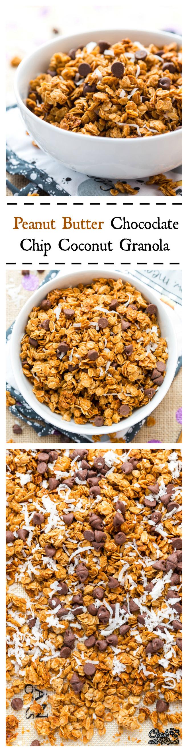 Peanut Butter Chocolate Chip Coconut Granola Collage-nocwm