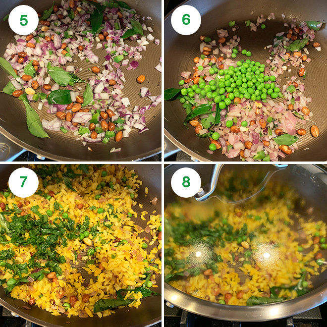 step by step picture collage of making poha at home