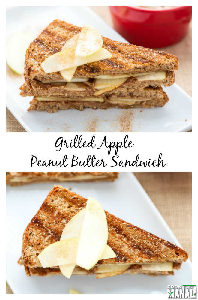 Grilled Apple Peanut Butter Sandwich - Cook With Manali