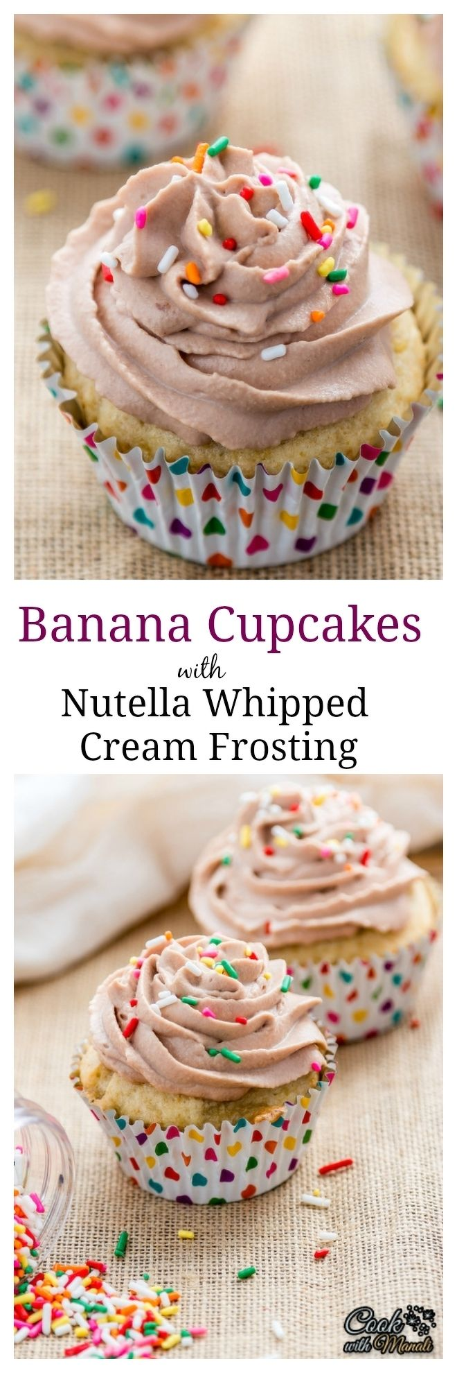 Banana-Cupcakes-With-Nutella-Whipped-Cream-Frosting Collage-nocwm