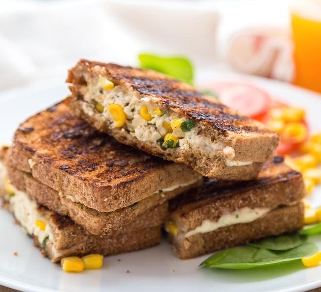 Grilled Cheese Paneer Corn Sandwich