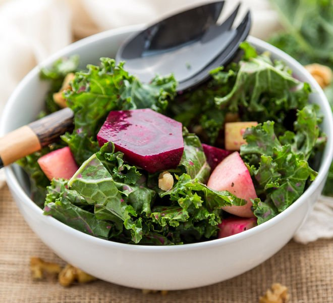 Kale Beets Apple Walnut Salad