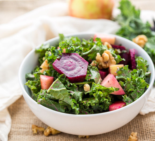 Kale And Roasted Beet Salad With Maple Balsamic Dressing Recipe ...