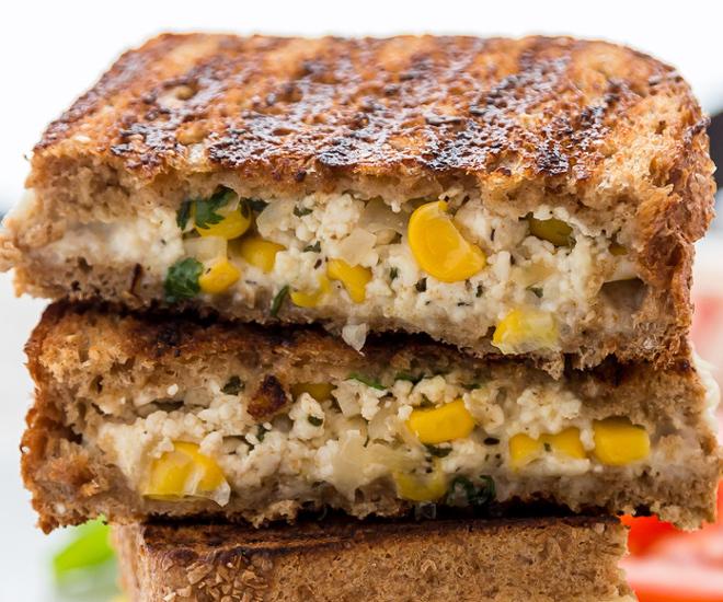 Paneer Sweet Corn Sandwich