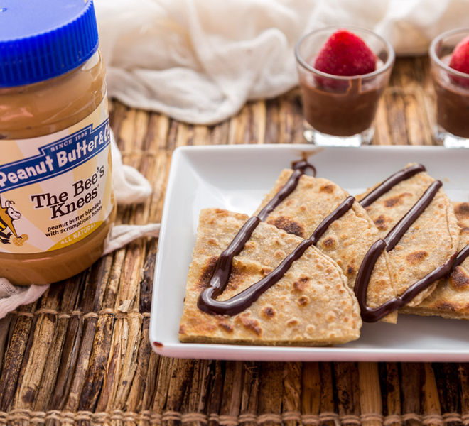 Peanut Butter Paratha With Chocolate Dip