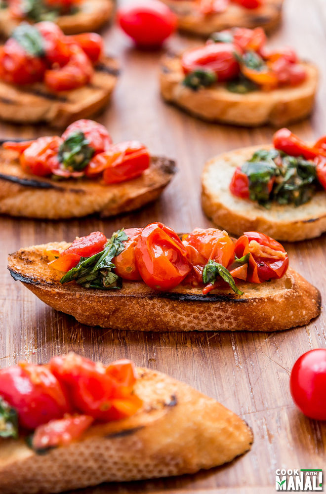 Roasted Tomato Bruschetta - Cook With Manali