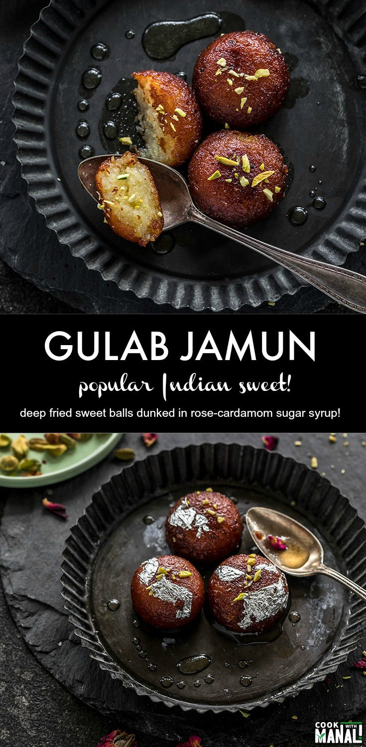 One of India's most popular sweets, Gulab Jamun are fried sweet balls which are made of dried milk and then dunked in a rose-cardamom flavored sugar syrup! #indian #sweet #diwali #gulabjamun #indiansweet