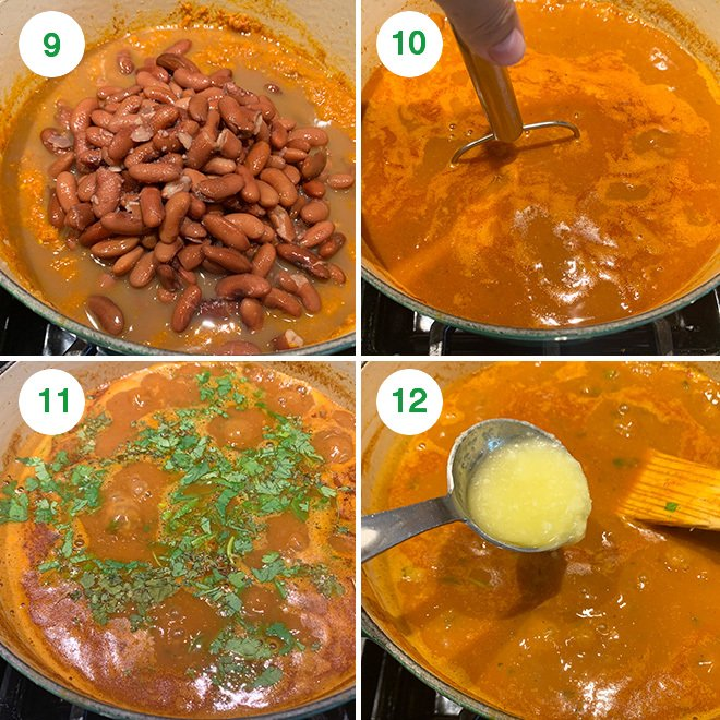step by step picture collage of making rajma