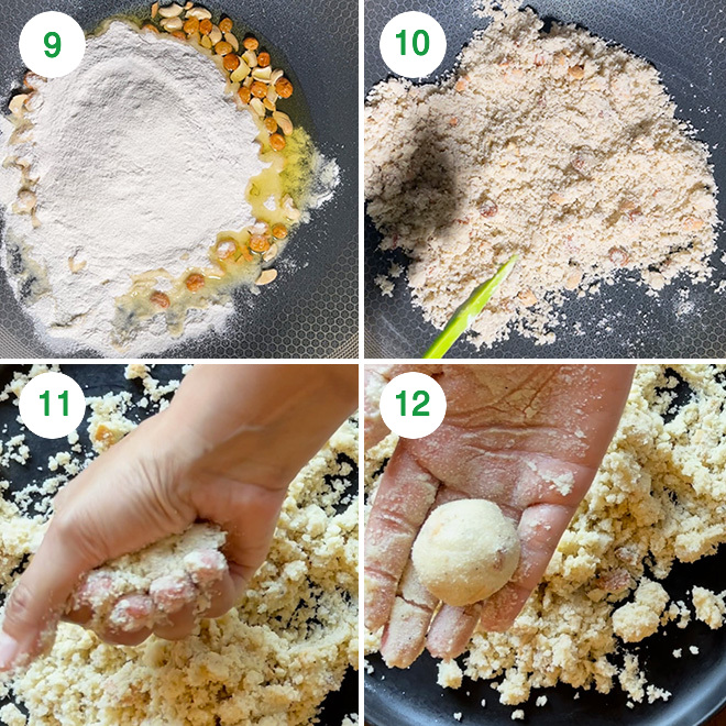 step by step picture collage of making rava ladoo