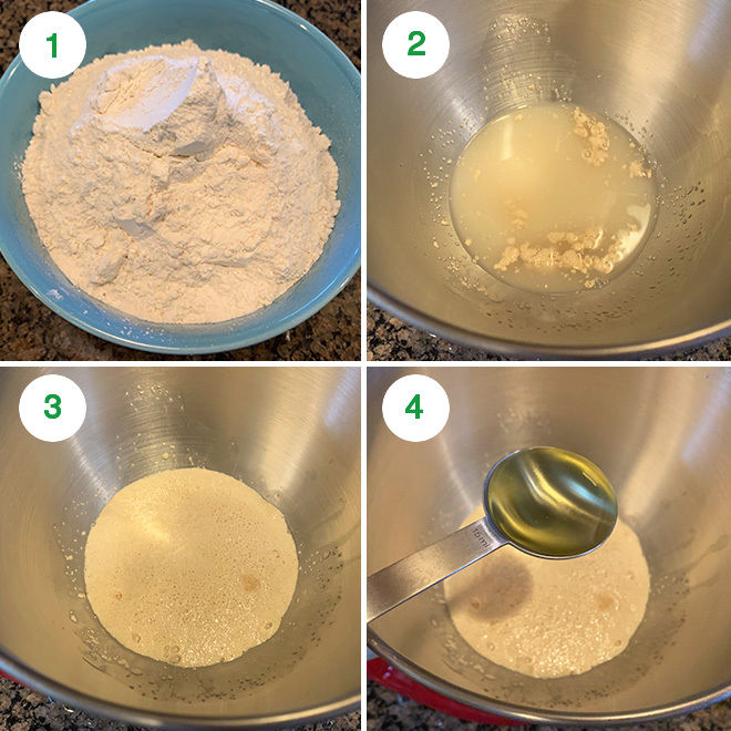 step by step picture collage of making naan at home