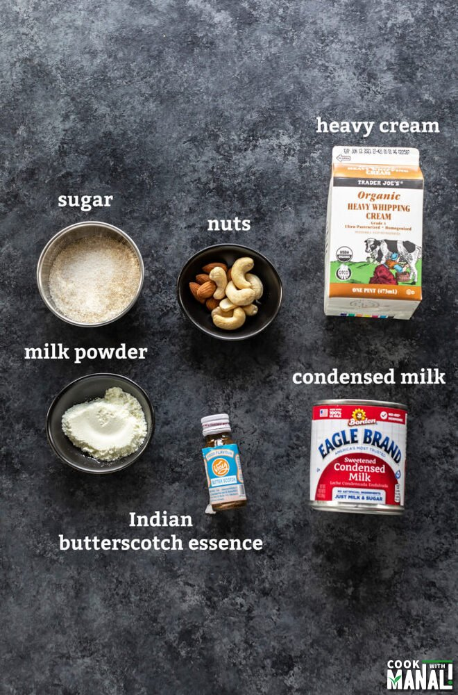 board with can of condensed milk, heavy cream, bowls with nuts, sugar