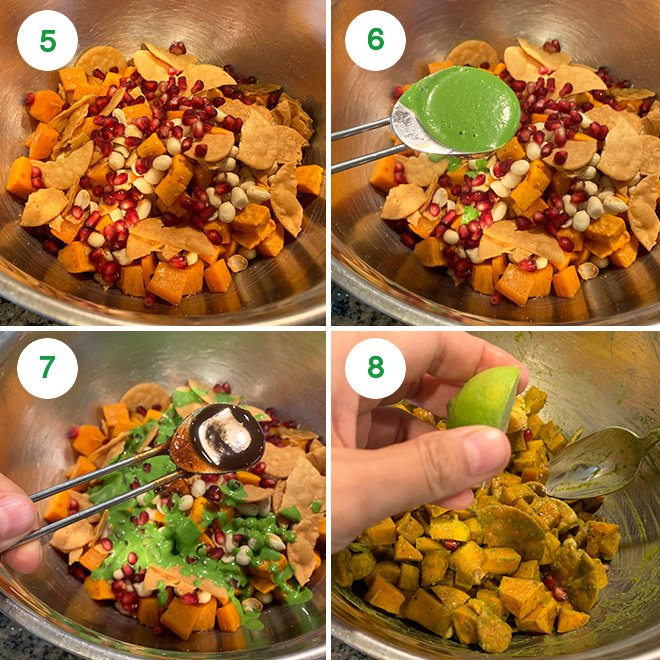 step by step picture collage of making sweet potato chaat
