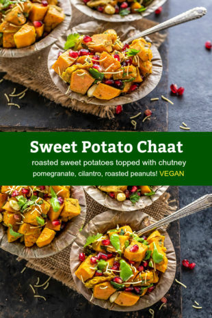 Pinterest graphic for sweet potato chaat