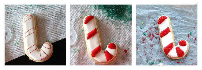Candy Cane Sugar Cookie Decorating Idea