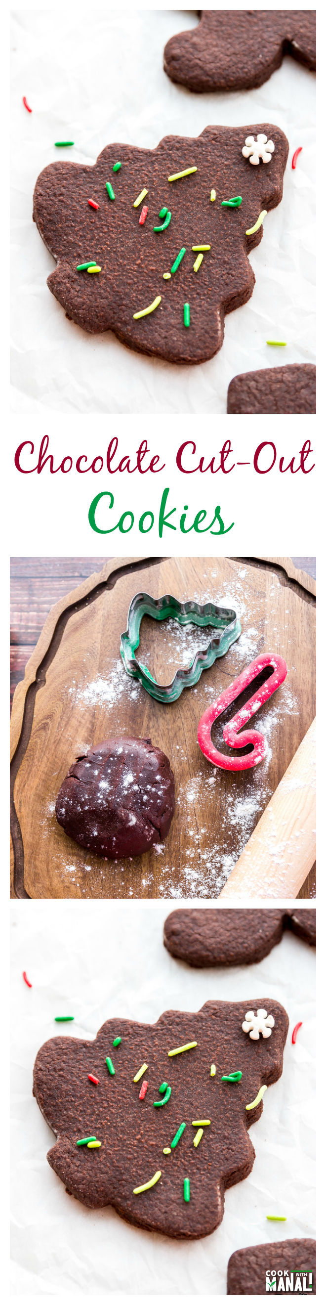 Chocolate Cut-Out Cookies Collage