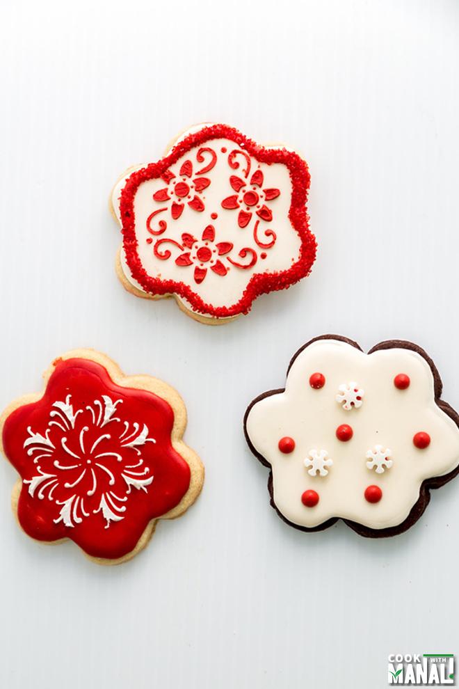 Christmas Flower Sugar Cookies