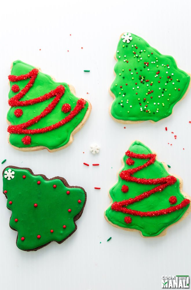 Decorated Christmas Tree Sugar Cookies