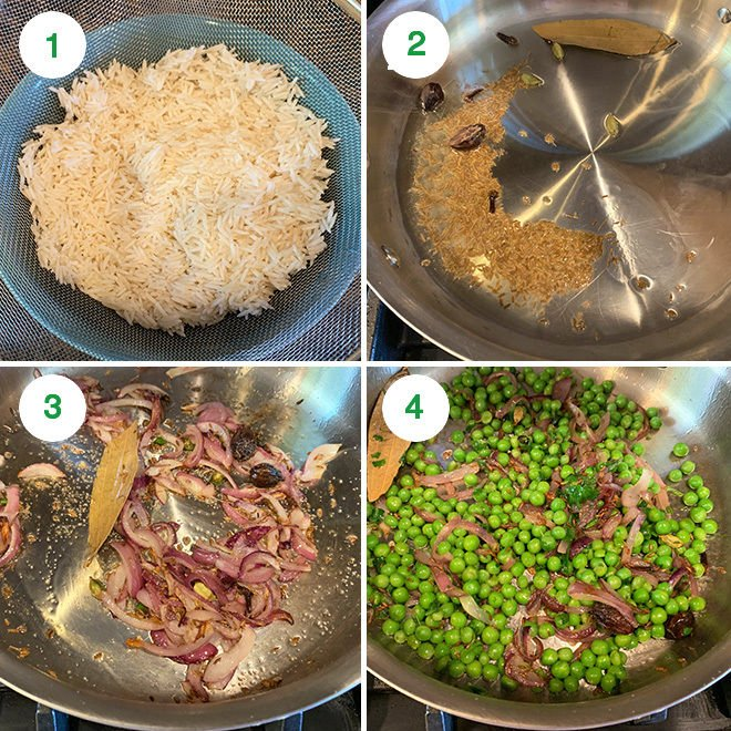 step by step picture collage of making matar pulao