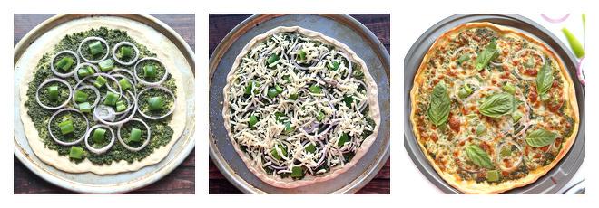 Onion Bell Pepper Pesto Pizza-Recipe-Step-2