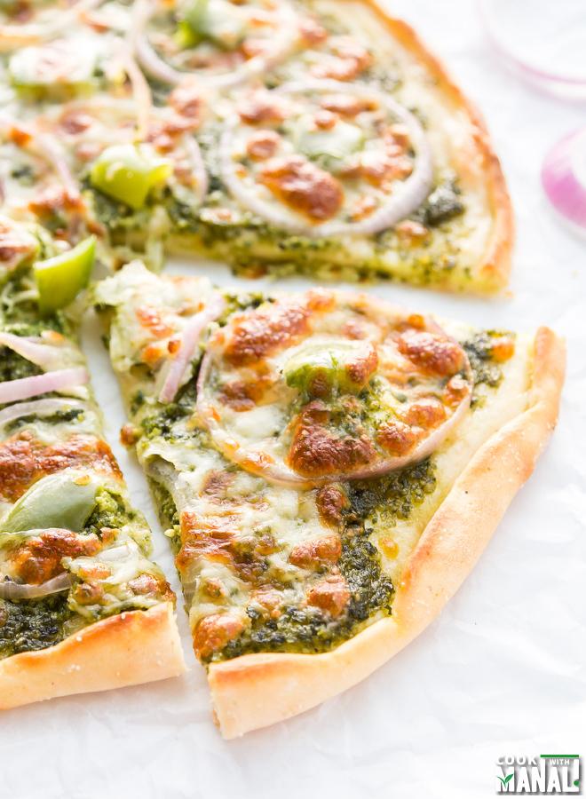 Onion Bell Pepper Pesto Pizza
