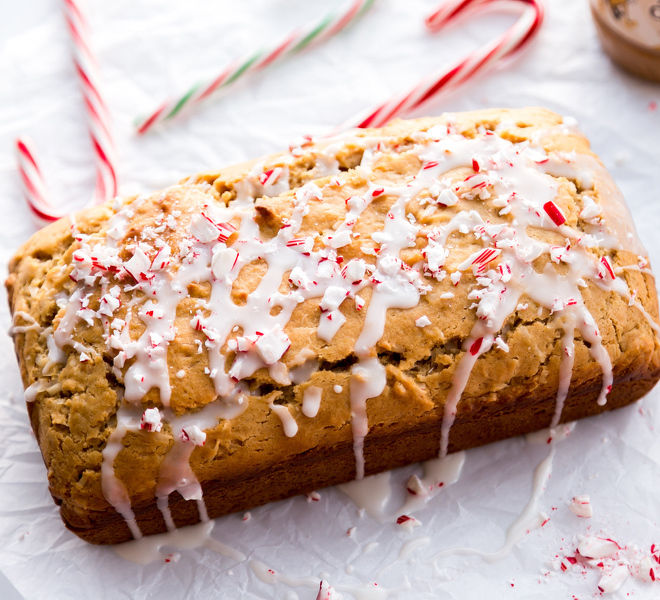 Peanut Butter Bread With Peppermint Glaze