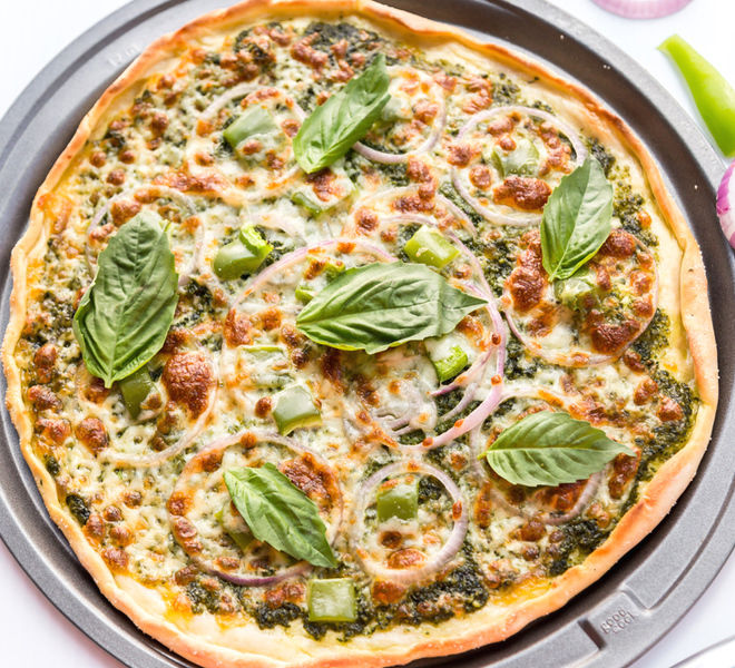 Pesto Pizza With Onion & Bell Pepper