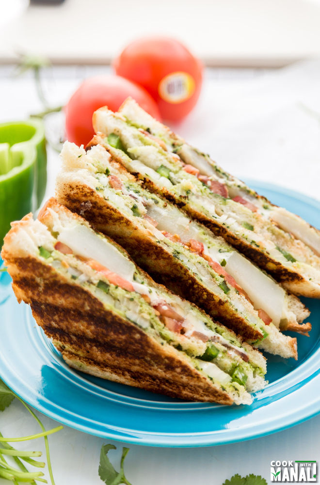 Bombay Veggie Grilled Cheese Sandwich - Cook With Manali