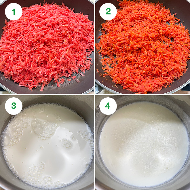 step by step picture collage of making gajar halwa