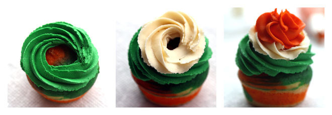 Indian Tricolor Cupcake Swirl