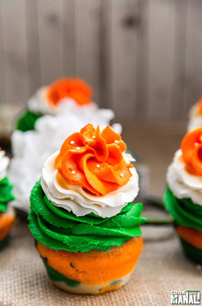 Indian Tricolor Cupcakes