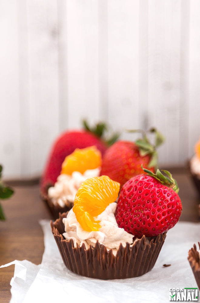 Chocolate Cups with Fruits & Whipped Cream