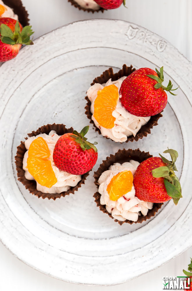 Chocolate Cups with Raspberry Whipped Cream