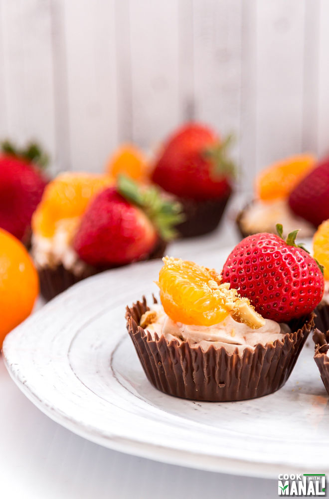Chocolate Cups with Whipped Cream and Fruits
