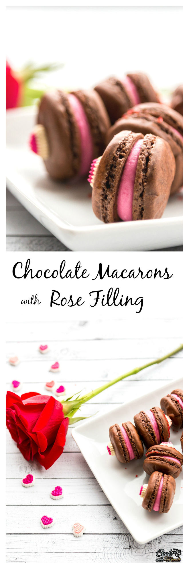 Chocolate Macarons with Rose Filling Collage-nocwm