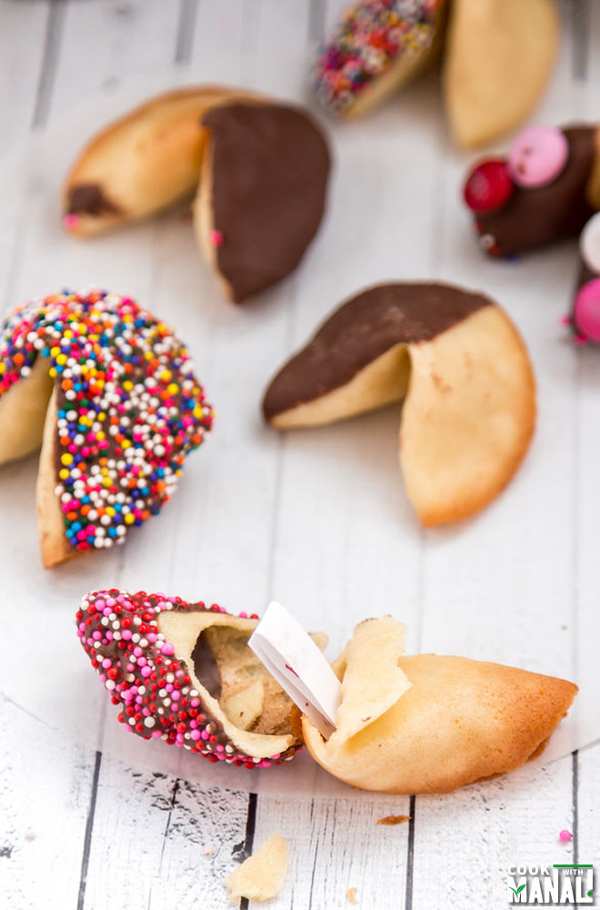 Homemade Chocolate Dipped Fortune Cookies