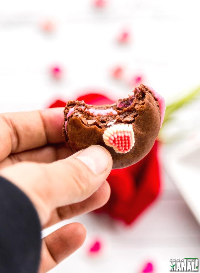 Rose Filling Chocolate Macarons