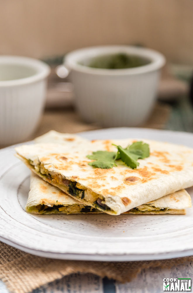 Spinach Chickpea Quesadillas